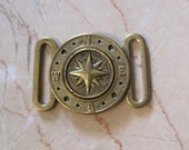 Nautical brass buckle - new old stock vintage - 2 part buckle - compass design