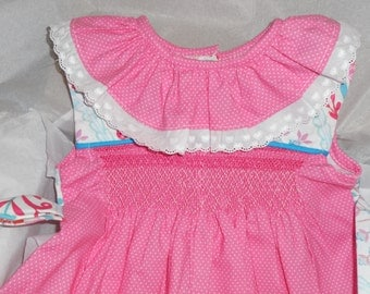 Size 12 Months Handsmocked Baby Girl Hot Pink Polka Dot Bubble