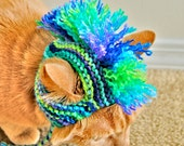 Mohawk Cat Hat - Green, Purple, Blue Tie Dye - Hand Knit Cat Costume (READY TO SHIP)