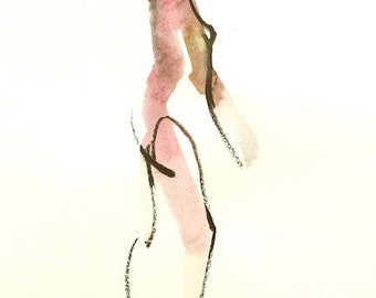 """Femme 135 original figure gesture watercolor and charcoal 10"""" x 15"""" Unframed"""