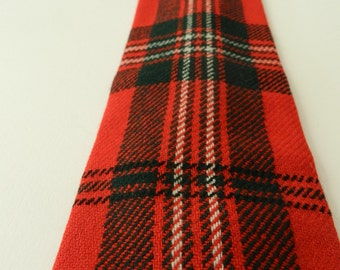 CRAZY for PLAID Vintage Classic Plaid Red Green White 100% Wool Scotland Wool Tie Rooster Red Scott Square End Flat Bottom