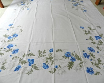 Vintage White Blue Poppies Flowers Cotton Blend Tablecloth