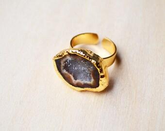 Golden Earth Crystal Druzy Ring