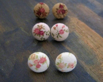 Vintage Floral Earrings, Fabric Button Earrings, Vintage Rosebuds, Vintage Wedding, Bridesmaid Jewelry,Vintage Floral Studs, Gift under 10