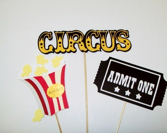 3 Piece Circus Centerpiece/ Popcorn/ Ticket/ Party Supplies / Decorating / Cake Decorating