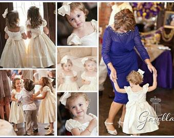 Girls sweet & simple silk dupioni dress large bow. Wedding Dress. Flower Girl Dress. Pageant. Beach Portrait. Free matching bow.