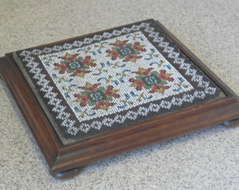 stunning antique mahogany and glass bead work tea pot stand