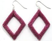 Dark Rose Pink Large Delica Seed Bead Diamond Earrings