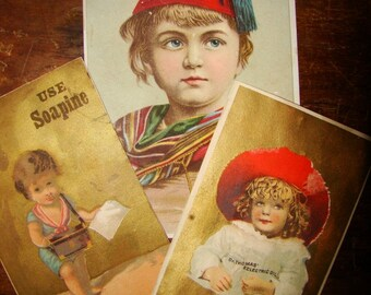 3 Vintage Antique Victorian Trade Cards- Soapine, Dr Thomas Electric Oil Pharmacy Apothacary