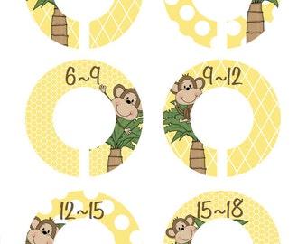 Monkey Closet Dividers, Baby Closet Organizers, Baby Shower Gift , Closet Organizers, Set of 6, Monkey Nursery Decor (56)