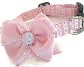 Shabby Chic Pink and Green Dog Collar size Small