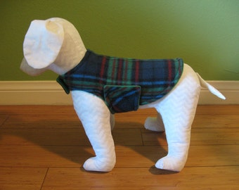 Extra Small Dog Coat, Dog Jacket, Green, Cranberry Red, Black, and Blue Plaid Fleece with Green Fleece Lining