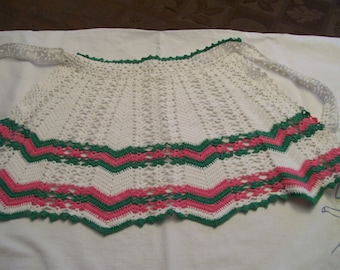 Crocheted Half Apron Vintage Green Pink Childs Size Apron