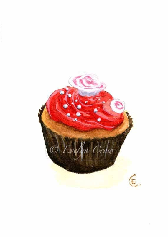 Cupcake 24 - Original Watercolor Painting 8x6 inches