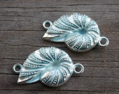 6 Nautilus Shell Connector Charms 27mm Silver and Blue
