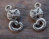 20 Silver Cat Charms 17mm  Antiqued Silver