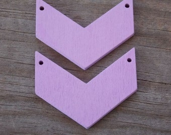 10 Purple Wood Chevron Pendant 4.5cm Handpainted