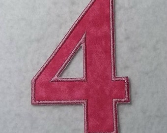 Birthday Number Four (5 inch Standard font) Tutu & Shirt Supplies - fabric iron on Applique Patch 7592