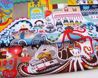 W056 - 145cmx100cm Vinyl Waterproof Fabric - Octopus