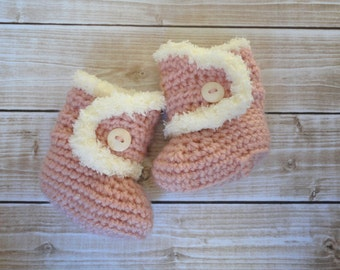 Baby Girl Pink Booties with Ivory Faux Fur Newborn 0-3 mos