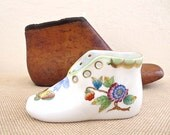 Herend Porcelain Shoe Queen Victoria Blue Bow and Butterflies Porcelain Baby Shoe Hungary Baby Gift