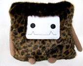 Leopard Faux Fur Pillow Monster - Cube / Throw Pillow / Cushion