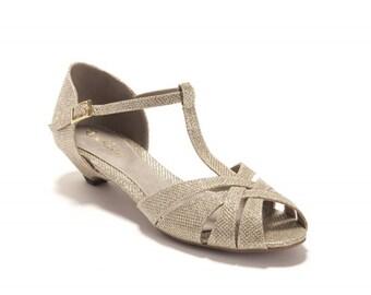Gold Bridal sandals / wedding sandals / low heel sandals / sparkly gold sandals / kitten heel / bridesmaids