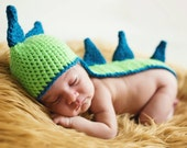 PDF Crochet Pattern Dino Hat Newborn Photo Prop Long Tail Beanie Baby Boy Girl Unisex Dinosaur Spikes