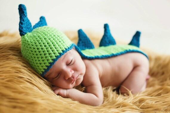 PDF Crochet Pattern Dino Hat Newborn Photo Prop Long Tail Beanie Baby Boy Girl Unisex Dinosaur Spikes