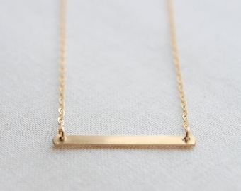 Gold Bar Necklace  -   simple layering necklace - 1305