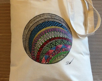 Tote bag - cotton tote bag-reusable tote bag - printed tote bag-fabric tote bag- produced from an original hand drawing.