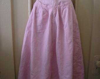 1980s vintage pastel pink acid washed denim rockabilly midi skirt size extra small xs