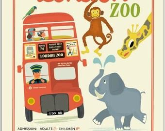 A3 London Zoo Giclée Print