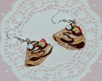 Crepe Earrings - French crepe Earrings -  food Earrings - Miniature Food Jewelry - Pastry Earrings -