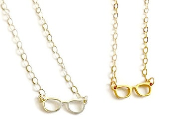 I See What You Did There - Gold or Silver Eyeglasses - Sterling Silver Gold Filled Vermeil Jewelry