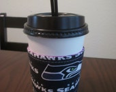 Ready to Ship~Seahawks Zebra Reusable Reverable Fabric Coffee Wrap by MiMidesigns