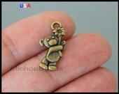 1 Teddy BEAR Charm - 19mm 3D Bronze Baby Toy Bear Nickel Free Metal Pendant - New Baby Shower Charm - Instant Ship - USA  - 6195