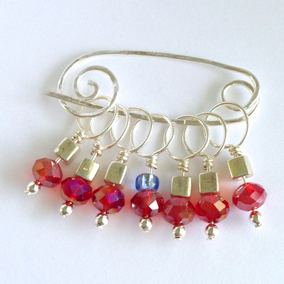 Decorative Knitting Stitch Markers : Decorative Knitting Stitch Markers Ruby Red by elinorandmarianne