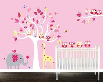 Girls nursery decals - Pink Safari set - animals - owl wall decals - nursery tree - owls birds elephant giraffe