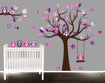 Floral pink and purple owl wall decal, nursery tree decals for girls, nursery decals owl on swing - vinyl tree