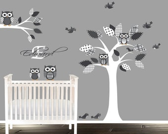 Modern grey wall tree stickers, Fabric easy to install tree decal, owls and birds in tree, custom name decal