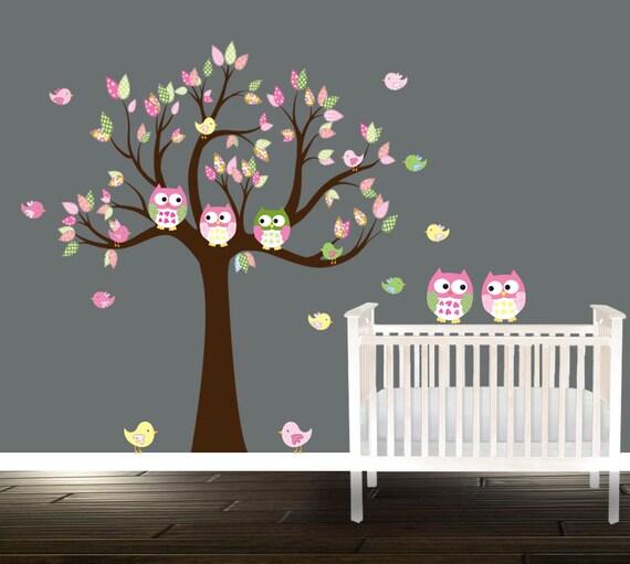 D calcomanies de p pini re de jeunes filles stickers muraux for Stickers hibou chambre bebe