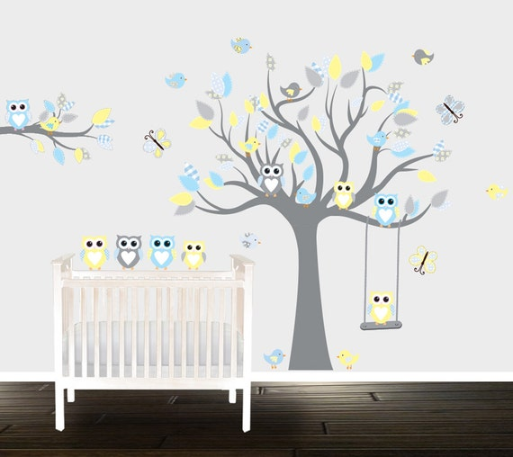 Beau Items Similar To Boys Grey Yellow Owl Wall Decals, Nursery Wall Stickers, Nursery  Decals, Branch, Birds, Swing, Owl On Etsy