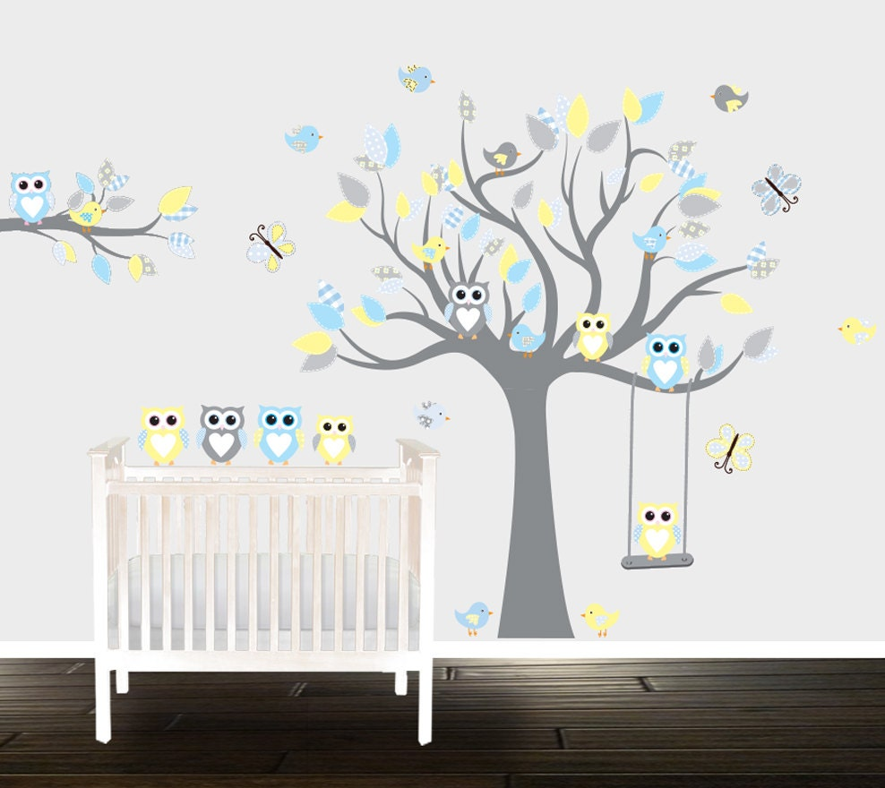 Wall Decor Stickers Nursery : Boys grey yellow owl wall decals nursery stickers