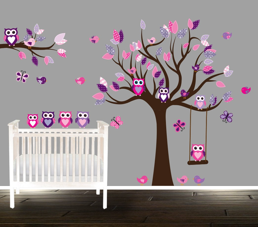 Floral pink and purple owl wall decal nursery tree decals for zoom amipublicfo Choice Image