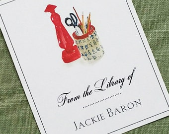 Chinoiserie desk set illustrated Bookplate Personalized, set of 24.