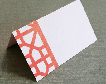 Orange Frette Pattern Place cards, Chinoiserie style, Asian Motif Set of 12