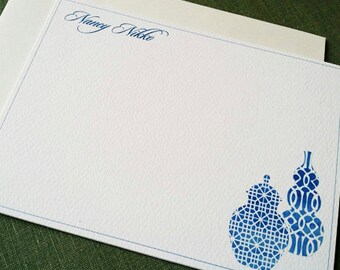 Chinoiserie Vase, Ginger Jar, Chinese Blue and White, Personalized Stationery, Set of 15