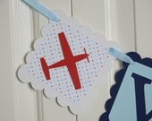 Airplane Name Banner, Airplane Baby sign, Baby shower sign, Navy Blue Red and Light Blue Theme,