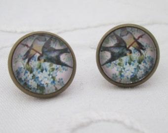 Earrings - birds, blue flowers, cabochon 12mm bronze retro